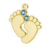 Baby Füße Anhänger mit Swarovski Kristall, Silberschmuck,   LK-0481 - 05 ver.2