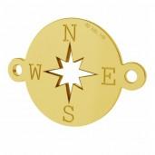 14K 585 Gold Kompass-Anhänger, Verbinder, Goldschmuck, LKZ-01318 - 0,30