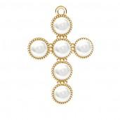 Kreuz-Anhänger, Swarovski Perlen, Weiß, Silberschmuck, ODL-00666 20,5x29,5 mm ver.2