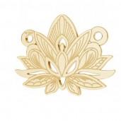 14K Gold AU 585, Lotusblume-Anhänger, Lotusblüte, Goldschmuck, LKZ14K-50050 - 0,30 12,3x15,8 mm