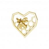 Herzen und Biene-Anhänger, Ohrringteile, Silberschmuck, Bienenwaben, ODL-00671 13,9x15 mm
