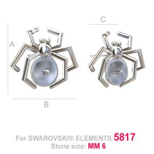 Spinnen-Ohrstecker, Swarovski 5817 MM 6, ODL-00055  KLS