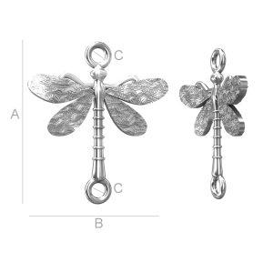 Libelle-Anhänger, Verbinder, Silberschmuck,  ODL-00097