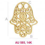 Hamsa hand 14K gold anhänger LKZ-00001 - 0,30 mm