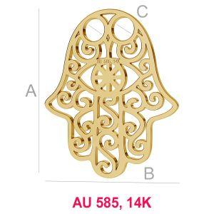 Hand der Fatima-Anhänger, 14K Gold 585, Hamsa, LKZ-00001 - 0,30 mm