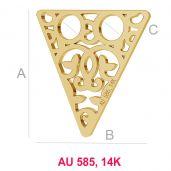 Dreieck 14K gold anhänger LKZ-00008 - 0,30 mm