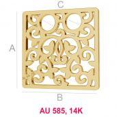 Platz 14K gold anhänger LKZ-00009 - 0,30 mm