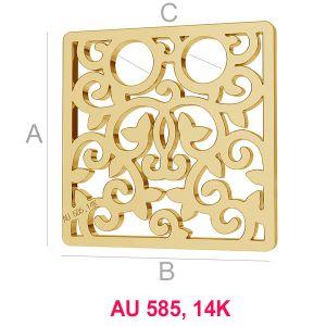 14K 585 Gold Quadrat Anhänger LKZ-00009 - 0,30 mm