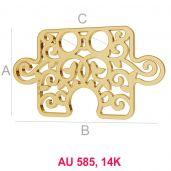 Puzzle 14K gold anhänger LKZ-00005 - 0,30 mm