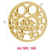 Runden 14K gold anhänger LKZ-00007 - 0,30 mm