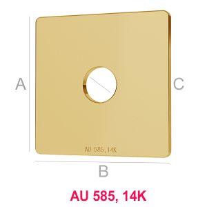14K 585 Gold Quadrat Anhänger LKZ-00012 - 0,30 mm