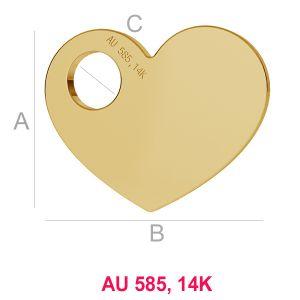 14K 585 Gold Herz Anhänger LKZ-00014 - 0,30 mm