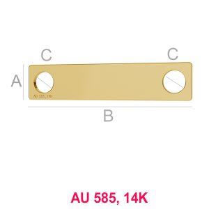 14K 585er Gold Rechteck-Anhänger LKZ-00018 - 0,30 mm