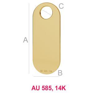 14K Gold Anhänger, Gold Schmuckteile, AU 585, LKZ-00019 - 0,30 mm