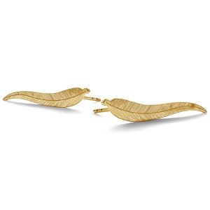 14K 585 Gold Blatt-Ohrstecker LKZ-00791 KLS (L+P) - 0,30 mm