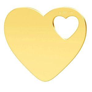 Zwei Herzen anhänger, 14K gold, LKZ-01304 - 0,30